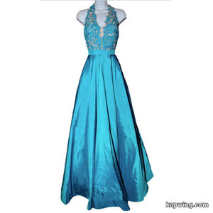 Stunning Sherri Hill Teal Formal Prom Dress NWT